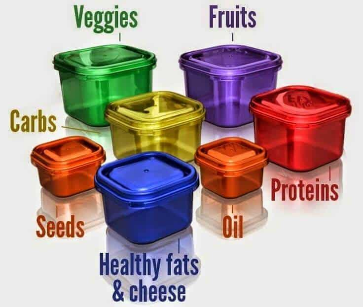 Arrangement of color containers categorized by veggies, fruits, proteins, oil, healthy fats and cheese, seeds, and carbs