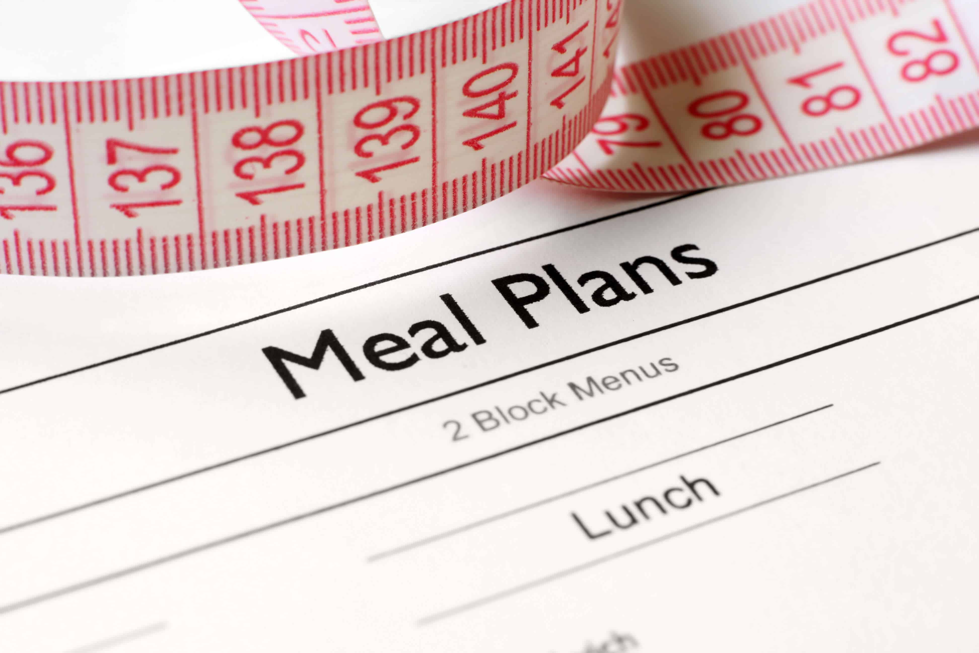 "Measuring tape laying on top of paper with the title ""Meal Plans"" in black lettering"