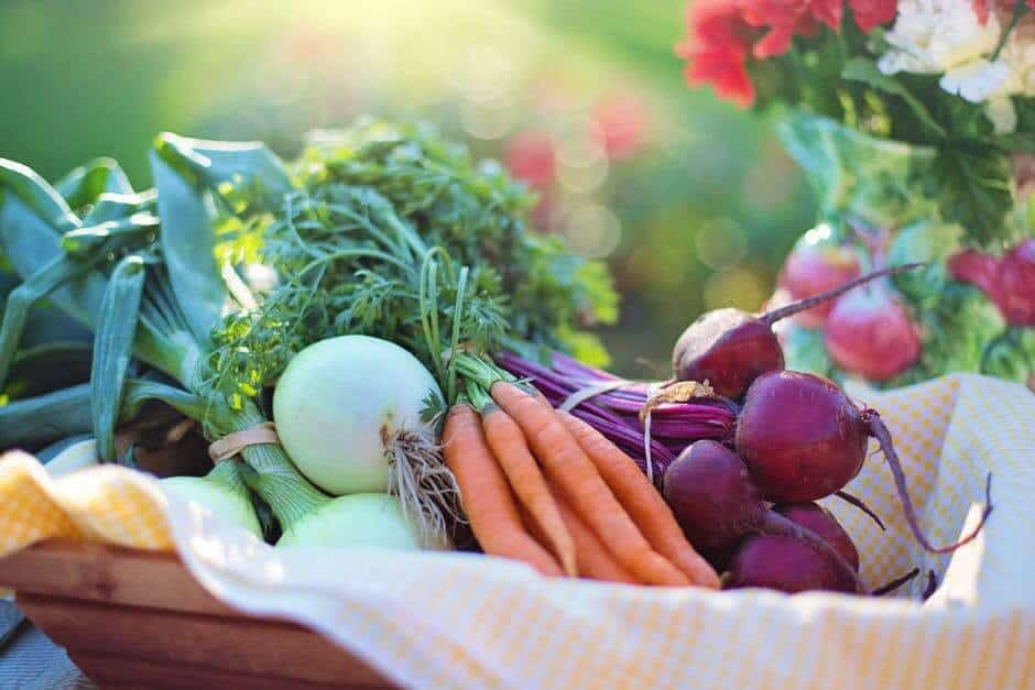 Basket of fresh carrots, onions, and beets