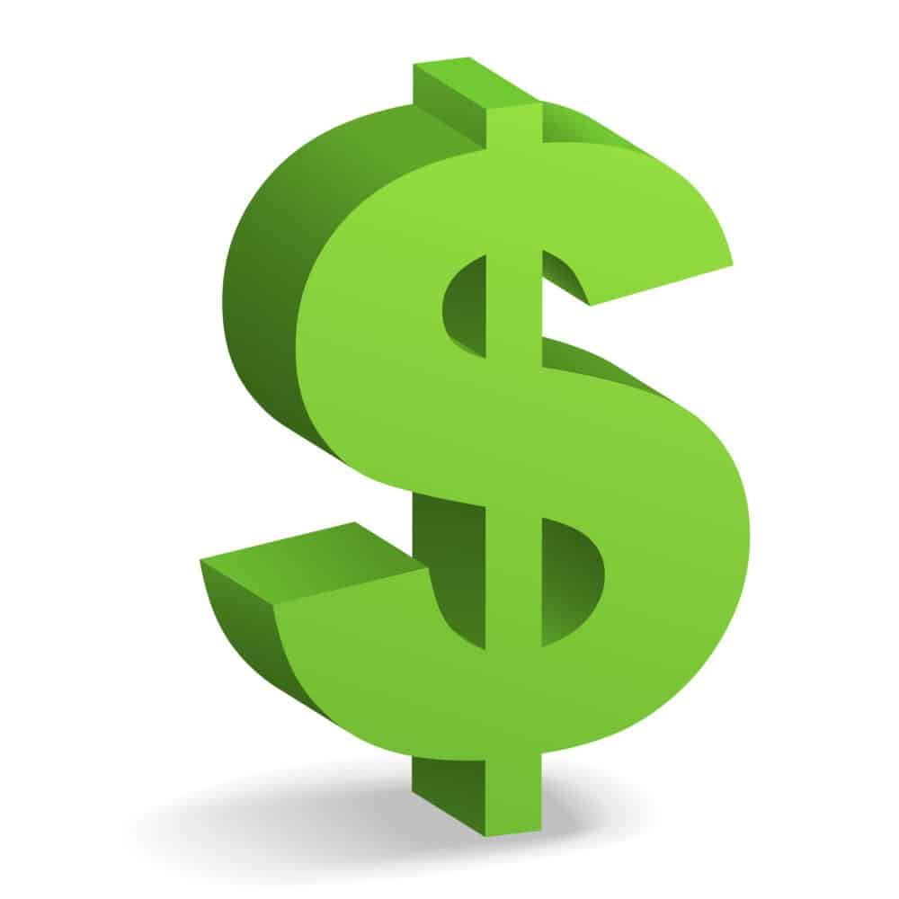 3D figure of the dollar sign