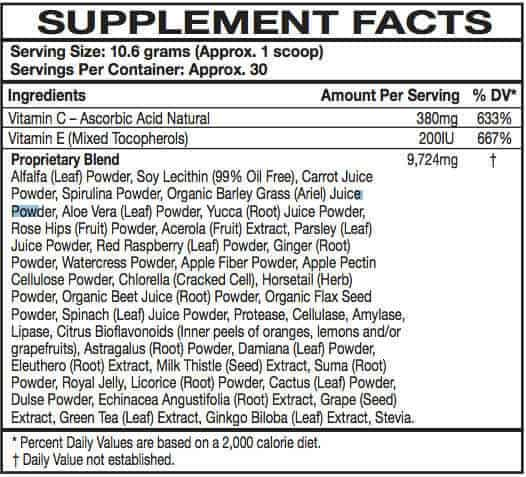 All day energy greens supplement facts label