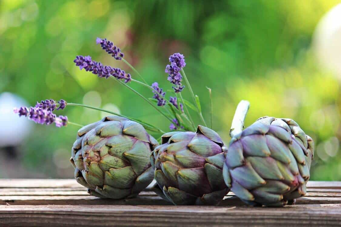 Group of 3 raw artichokes with stem on top of a wooden table