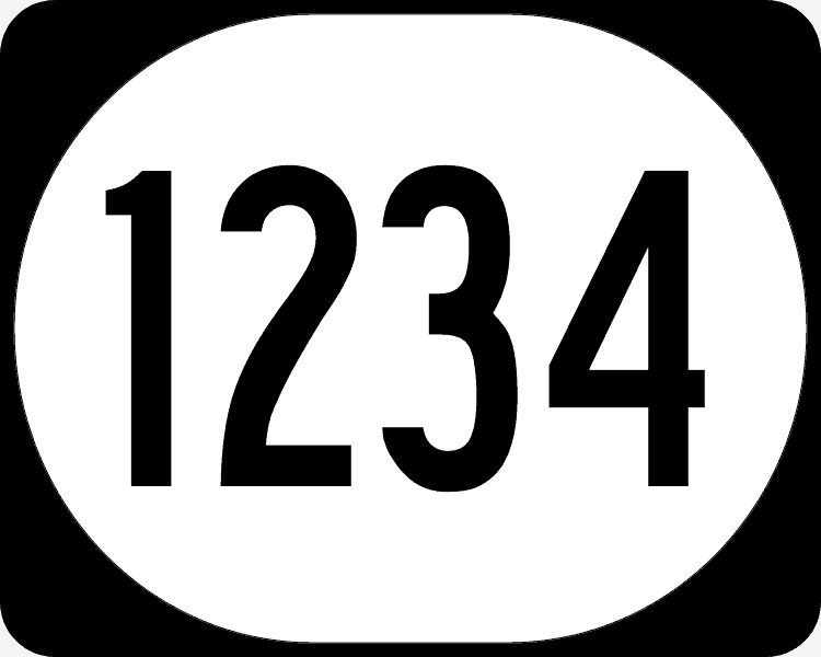 white oval on black background with black lettering that shows the numbers one, two, three, and four