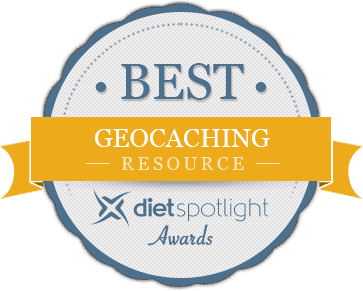 Best GEOCACHING Resource, Diet Spotlight Awards; Gray Circle With Dark Blue Fringe And Gold Ribbon horizontally across the center of the Circle