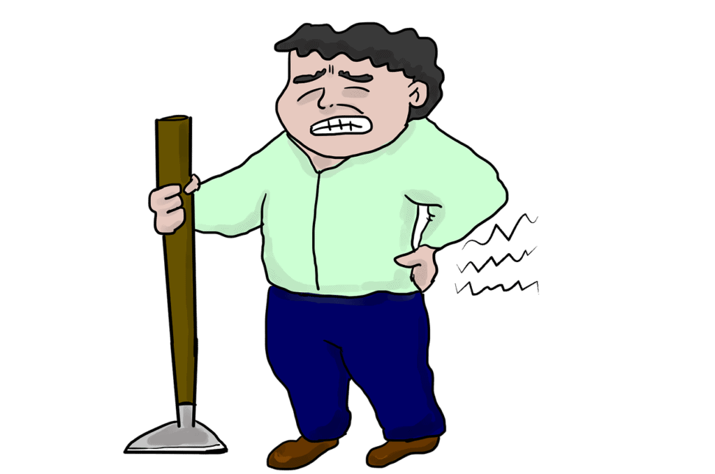 animated - man bluie pants green shirt holding a hoe and grabbing back in pain