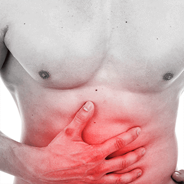 Shirtless man holding his right hand over his stomach signaling he has stomach pain, red hue over area to get point across