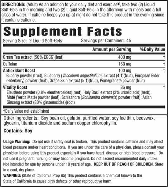 green tea fat burner supplement facts