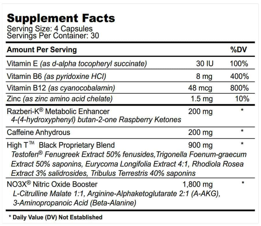 High T Black supplement facts label