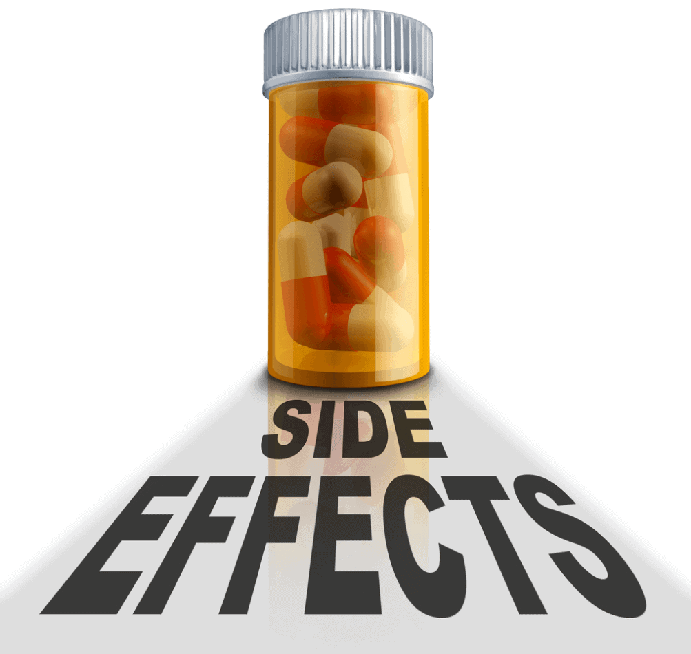 "Graphic of pills inside orange pill bottle casting a shadow, under that shadow black lettering that reads ""Side Effects"""