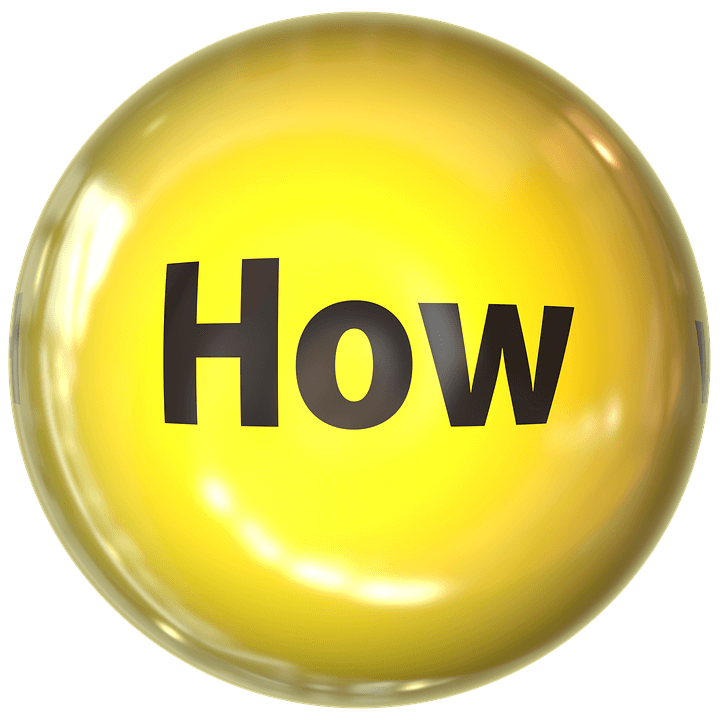 "Yellow button with black lettering that reads ""How"""